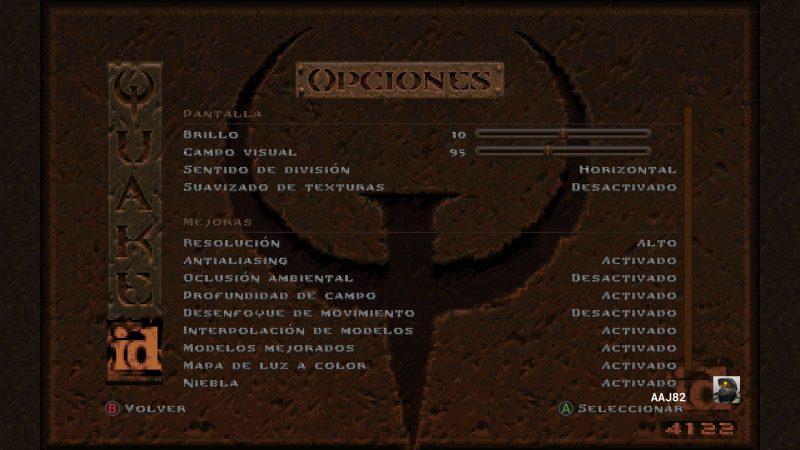 Opciones graficas de Quake Remastered